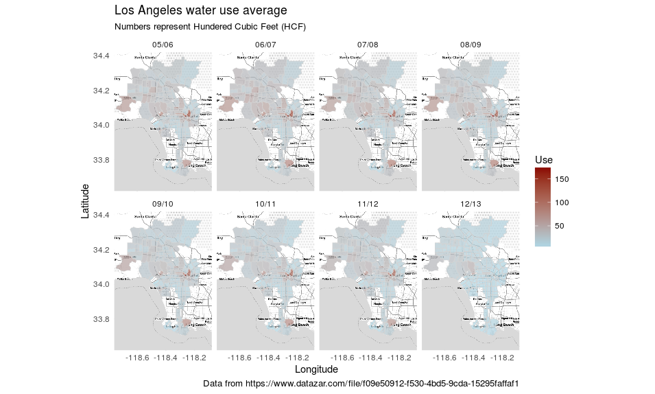 Los Angeles water use average for the fiscal years 05/06 to 12/13